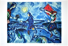 MARC CHAGALL (After) Lovers Over Paris Lithograph, 378 of 500