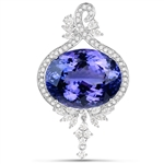 APP: 125.8k *18K White Gold 38.11 Oval Cut Tanzanite and White Diamond Pendant (Vault_Q) (QP9731TANWD-18KW)
