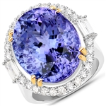 APP: 74k *18K White Gold 25.10 Oval Cut Tanzanite and White Diamond Ring (Vault_Q) (QR23437TANWD-18KW-8)