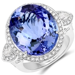 APP: 68k *18K White Gold 20.38 Oval Cut Tanzanite and White Diamond Ring (Vault_Q) (QR23494TANWD-18KW-8)