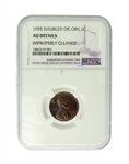 1955 1C Lincoln Double Die OBV NGC AU Details Improperly Cleaned Coin