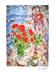 MARC CHAGALL Red Bouquet with Lovers Lithograph, I387 of 500