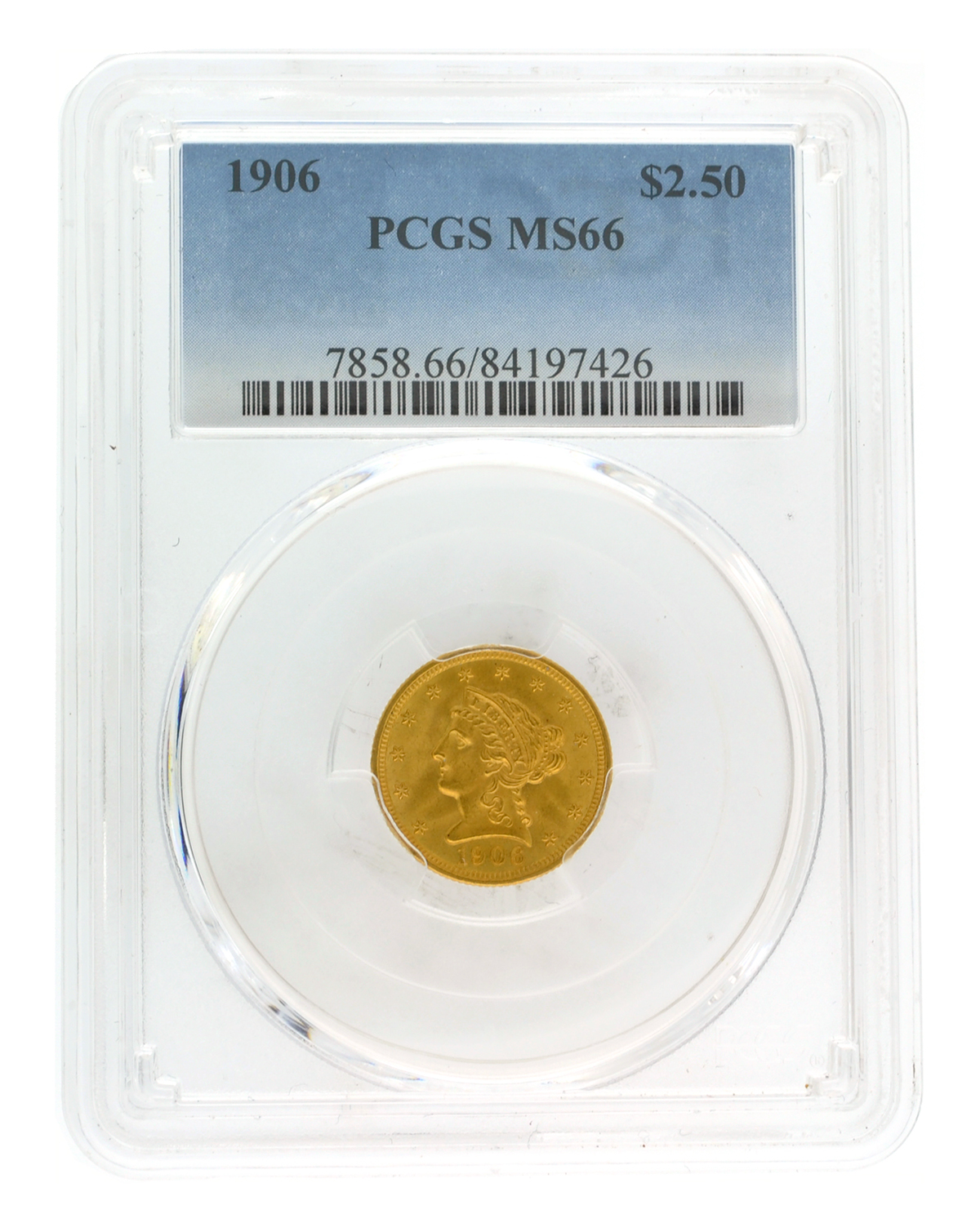 Lot Detail - *1906 $2 50 U S  Liberty Head PCGS MS66 Gold Coin (DF)