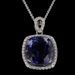 APP: 54.7k *Gorgeous 21.23ct Tanzanite and 0.50ctw Diamond Platinum Pendant/Necklace (GIA CERTIFIED) - Great Investment (Vault_R11 23525)