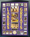 *Extra Rare Laker Greats Authentic Autographed with Certificate Museum Framed Collage Great Investment