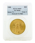 Rare 1908 PCGS MS 65 $20 Standing Liberty Head Gold Coin Great Investment (DF)