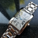 *CARTIER Mens 18K White Gold Tank Americaine XL Automatic c.2000s Mens Watch
