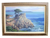 Extreme Rare Original Signed Oil Painting 24 inch x 36 inch Lone Cypress on the Coast, Pebbie Beach By Russ Vickers (@Brians)