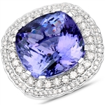 APP: 77.7k *18KT. White Gold 23.72 Cushion Cut Tanzanite and White Diamond Ring (Vault_Q) (QR23435TANWD-18KT.W-8)