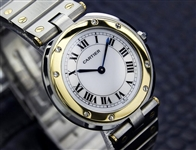 *Luxury Cartier 18K Gold and stainless steel 32mm Watch -P-