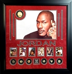 Extra Rare Michael Jordan Championship Reissue Rings and Baseball Authentic Autographed with JSA Certificate Museum Framed Collage Great Investment -PNR-