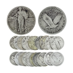 10 Rare Early Date U.S. Standing Liberty Silver Quarter Dollar Coins - Great Investment -