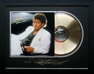 *Rare Michael Jackson Thriller Album Cover and Gold Record Museum Framed Collage - Plate Signed