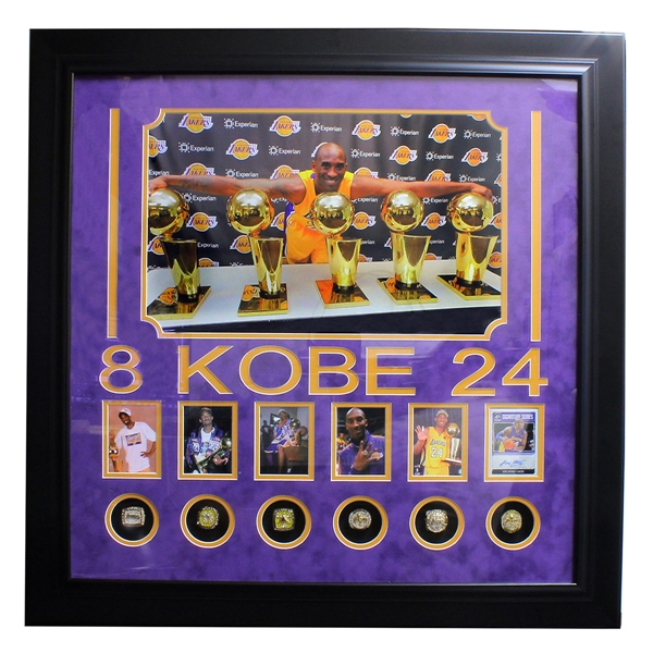 Extremely Rare Kobe Bryant Collage Authenic Signed Signature Series Card 6 Reissue Gold Overlay Rings Museum Piece -PNR-