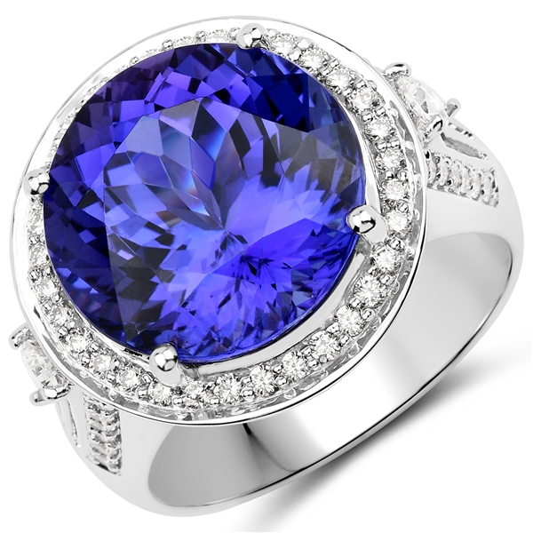 APP: 39.1k *18KT. White Gold 12.14 Round Cut Tanzanite and White Diamond Ring (Vault_Q) (QR23664TANWD-18KT.W-8)