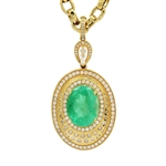 APP: 56.9k *13.54ct Emerald and 4.37ctw Diamond 14KT Yellow Gold Pendant/Necklace (Vault_R14 7154)